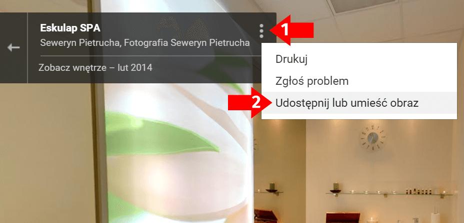 Wirtualny spacer Google - generowanie linku - krok 3