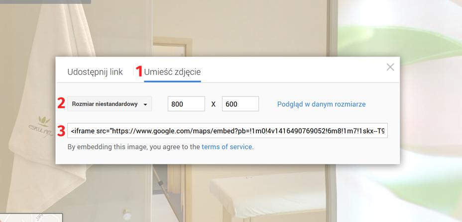 Wirtualny spacer Google - generowanie linku - krok 5