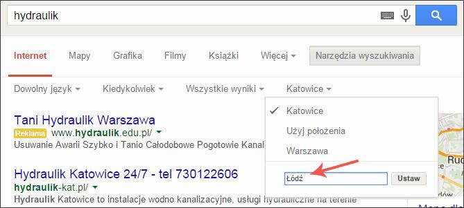Ustawienie lokalizacji Google
