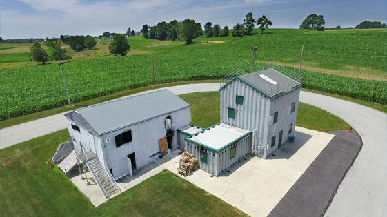 Zdjęcie 3d budynku gospodarczego z powietrza